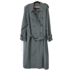 Burberry men's green trench coat wool lining 42L